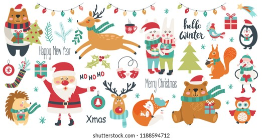 Christmas and New Year set on a white background. Vector illustration