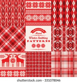 Christmas and New Year Set. Plaid and knitted seamless backgrounds. Vector Design Templates Collection for Banners, Flyers, Placards, Posters and other use.