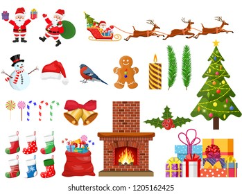 Christmas new year set. Santa claus, snowman, tree, reindeer, stockings, balls, holly sleigh fireplace toys gifts. Christmas greetings. New year xmas celebration. Vector illustration flat style