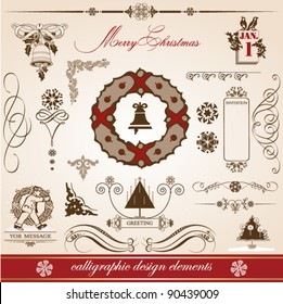 Christmas and New Year. set of vector decorative, calligraphic elements, antique and vintage jewelry, banners, text, separators, with snowflakes and stars design. Christmas wreath