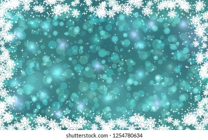 Christmas and New Year snowfall vector background with stars, snowflakes and bokeh effect