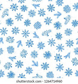 Christmas and New Year snowflake icons seamless pattern, Happy Winter Holiday tile background. Hand drawn doodle outline ornamental design elements.