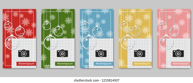 Christmas and New Year social network stories editable vector templates collection. Web application background for social media