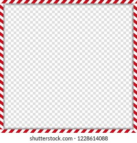 Christmas, new year square cane photo frame with red and white striped lollipop candy pattern isolated on transparent background. Holiday xmas border. Vector illustration, scrapbooking template.