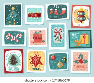 Christmas new year stamps cards. Cartoon style, hand drawn decorative elements. Holiday vector stickers illustrations set