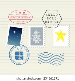 Christmas and New Year stamps set
