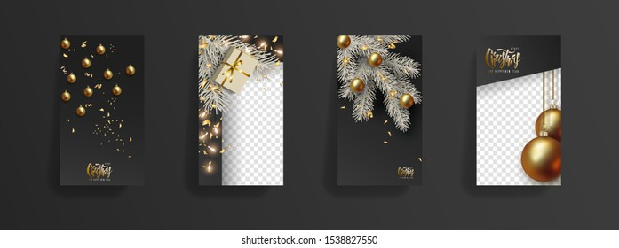 Christmas New Year storys template. Festive black background, golden 3D christmas balls, gold glitter, christmas tree branch, glowing light bulbs. Social media, social network, copy space for text