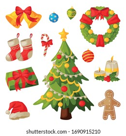 Christmas and New Year Symbols Collection, Traditional Holiday Decorations Vector Illustration