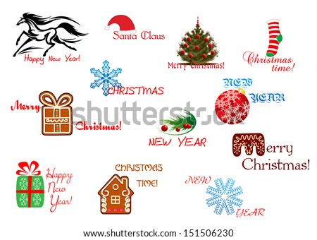 christmas and new year symbols with headlines jpeg rasterized version also in gallery