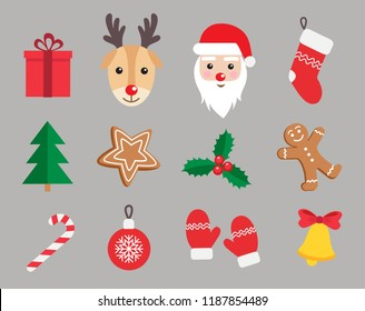 Christmas and New Year symbols icon set. Gingerbread man, Santa Claus, deer, candy, gift, ball, Christmas tree, mistletoe,  stockings etc. Vector illustration