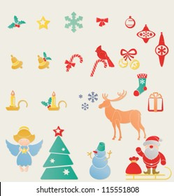 Christmas and New Year symbols set. Letterpress stamp looks like for decoration. Santa Claus with sleight, snowman, angel with star, candle, holy berry, jingle bell, deer, cardinal bird, snowflake/