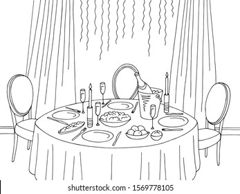 Christmas and new year table dining room graphic black white sketch home interior illustration vector
