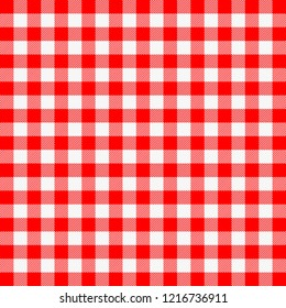 Christmas and new year tartan plaid. Scottish pattern in red and white cage. Vichy cage. Traditional Scottish checkered background. Seamless fabric texture. Vector illustration