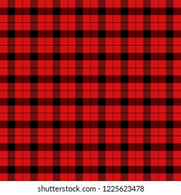 Christmas and new year tartan plaid. Scottish pattern in black and red cage. Scottish cage. Traditional Scottish checkered background. Fabric texture. Vector illustration