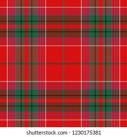 Christmas and new year tartan plaid. Scottish pattern in red and green cage. Scottish cage. Traditional Scottish checkered background. Seamless fabric texture. Vector illustration