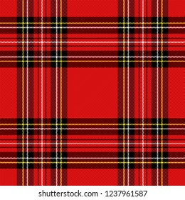 Christmas and new year tartan plaid. Scottish pattern in black, red and yellow cage. Scottish cage. Traditional Scottish checkered background. Seamless fabric texture. Vector illustration