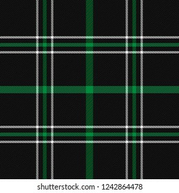 Christmas and new year tartan plaid. Scottish pattern in black, green and white cage. Scottish cage. Traditional Scottish checkered background. Seamless fabric texture. Vector illustration