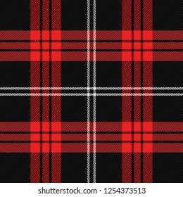 Christmas and new year tartan plaid. Scottish pattern in black, red and white cage. Scottish cage. Traditional Scottish checkered background.  Vector illustration
