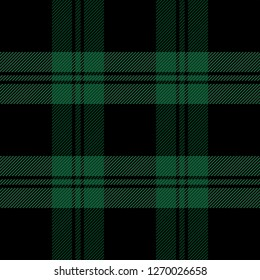 Christmas and new year tartan plaid. Scottish pattern in  black and green cage. Scottish cage. Traditional Scottish checkered background. Seamless fabric texture. Vector illustration