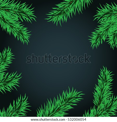 christmas and new year template for greeting in frame of tree branches the frame of