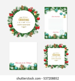 Christmas and New year templates - Santa Claus letter, decorative frames and backgrounds.