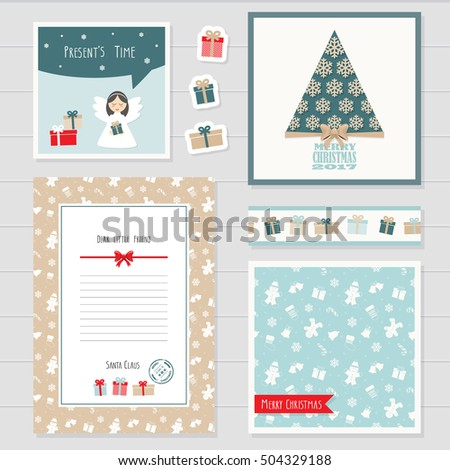 Christmas New Year Templates Set Greeting Stock Vector Royalty Free