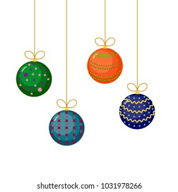 Christmas and New Year tree decorations. Set of multicolor baubles, ball ornaments with bows on white background. Vector illustration.
