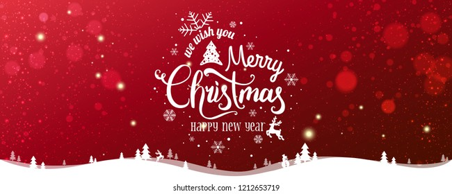 Christmas and New Year Typographical on snowy Xmas background with winter landscape with snowflakes, light, stars. Merry Christmas card. Vector Illustration