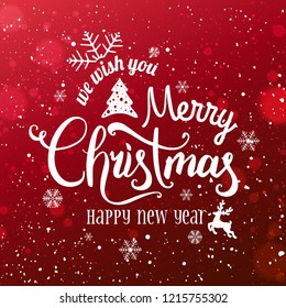 Christmas and New Year Typographical on snowy Xmas background with snowflakes, light, stars. Merry Christmas card. Vector Illustration