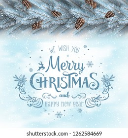 Christmas and New Year Typographical on white snowy background with silver fir branches, pine cones. Xmas  and New Year theme. Vector Illustration