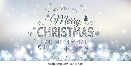 Christmas And New Year Typographical on Silver Xmas background with snowflakes, light, stars. Vector Illustration. Xmas card