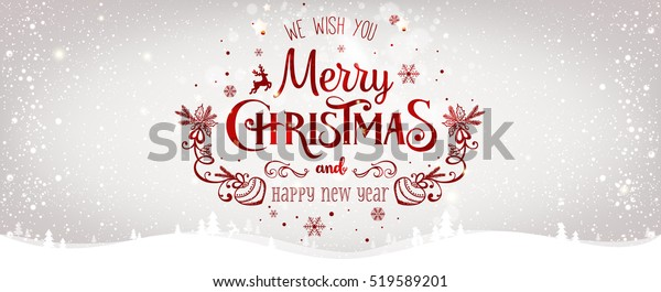 Christmas and New Year Typographical on shiny Xmas background with winter landscape with snowflakes, light, stars. Merry Christmas card. Vector Illustration