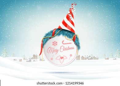 Christmas and New Year typography greetings on Xmas background with winter rural landscape and snowflakes.