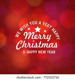 Christmas and new year typography with red background.