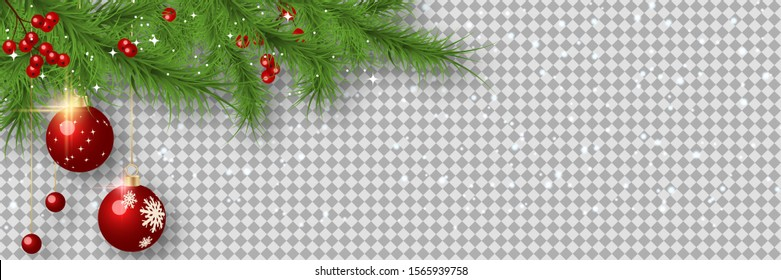 Christmas and New Year vector banner template. Fir tree branches corner with balls on transparent background