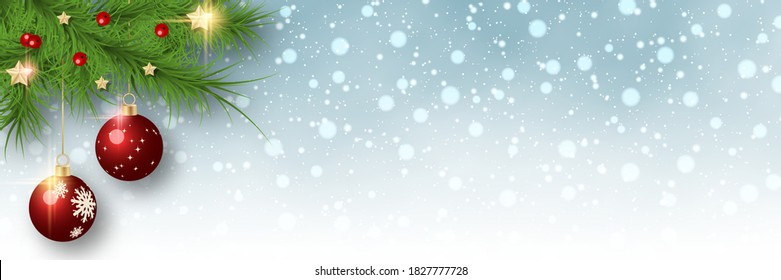 Christmas and New Year vector banner template. Fir tree branches corner on blurred background with stars and snowflakes