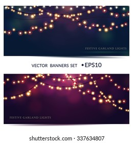 Christmas  and New Year vector card with festive garland lights. Vector illustration, banner