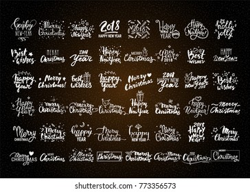 christmas new year vector collection big set of handwritten lettering label emblem
