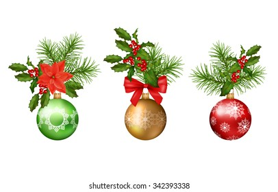 Christmas and New year vector decorations. Holiday elements