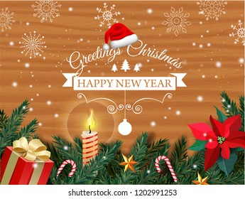 Christmas and New Year. Vector greeting card with Christmas tree, gift box, mistletoe flower, burning candle, caramel cane