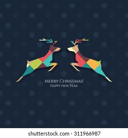 Christmas and New Year. Vector greeting card with Christmas Reindeer