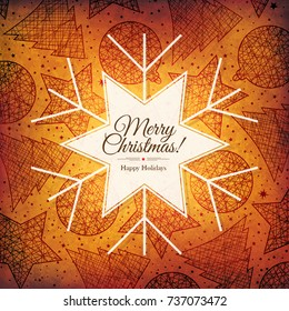 Christmas and New Year. Vector greeting card with Christmas background