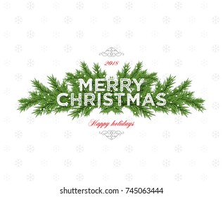 Christmas and New Year. Vector greeting card with Christmas tree branch