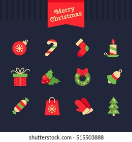 Christmas  and New Year vector icons. Set of flat Cristmas icons.