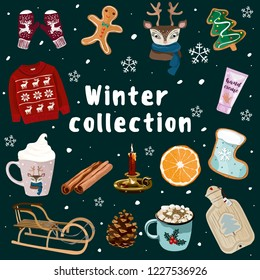 Christmas and new year vector illustration. Winter collection with mittens, sweater, cup with a deer, deer, gingerbread, sleigh, cinnamon, cones, candle, orange, warmer. For banners, posters, cards.