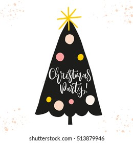 Christmas and New Year vector illustration with modern calligraphy handwritten greetings. Perfect for card, home decoration, poster. Creative holiday design with spruce silhouette.