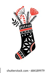 Christmas and New year vector illustration with hand drawn elements. Sock with gifts and florals. Perfect for holiday season greeting card, poster, banner design. Cute graphic trendy style.