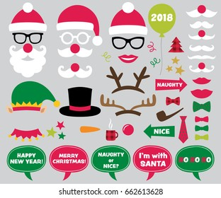 Christmas and New Year vector photo booth props and design elements