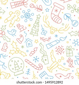 Christmas and New Year vector seamless pattern. Winter season color outline backdrop with linear symbols. Xmas holidays items and accessories background. Festive wrapping paper, textile design