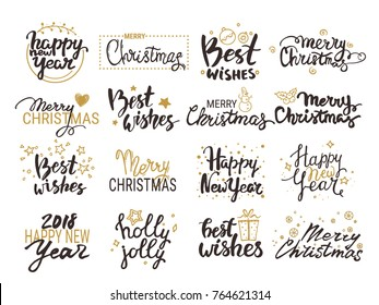 Christmas & New Year vector set: handwritten lettering, label, emblem, text design elements with golden winter holiday symbols. Festive quotes Merry Christmas, Happy New Year 2018, Best wishes.